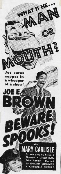 Beware Spooks! (1939) starring Joe E. Brown on DVD on DVD