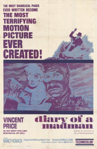 Diary of a Madman (1963) starring Vincent Price on DVD on DVD